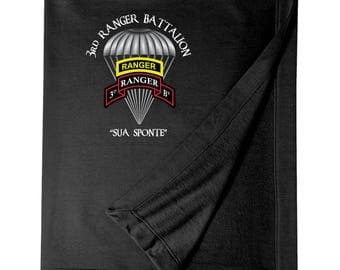 3/75th Ranger Battalion w/ Ranger Tab Embroidered Blanket-3830