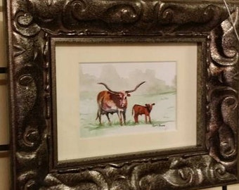 Longhorn Cow and Calf 5x7