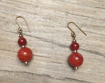 Amber dyed agate gemstone 14k gold filled earrings