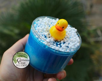 Bubble Bath Crunch Clear Glitter Slime