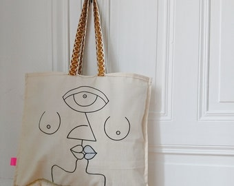 """Tote bag """"In Love"""" gold at the bottom edge"""