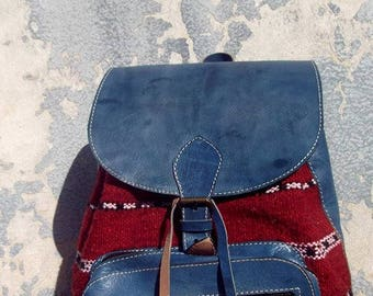 Blue and Kilim Handmade Moroccan Leather Backpack