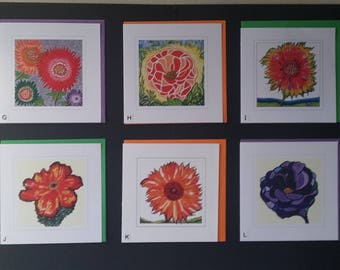 Handmade Flower Greetings Cards - assorted creative flowers made from original mixed media hand-made paintings