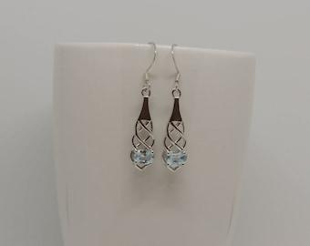 Hand made, topaz, 925, sterling silver earrings, gemstone, dangle drop, blue