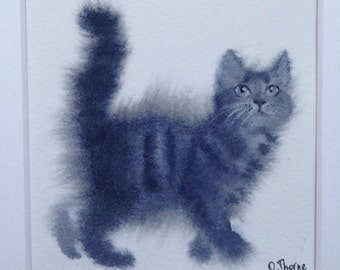 Little kitten. Original watercolor painting.