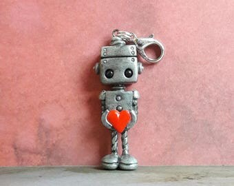 OOAK cute robot charms, robot pendants, robot jewellery, robot and love heart, valentine friendship charm