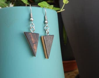 Earrings triangle, wax, laminated wood glued, recycling, 4 colors