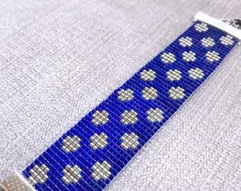 Blue Silver Miyuki Bead Bracelet / Miyuki Bracelet / Beaded Bracelet / Miyuki Beads / Miyuki Bead Bracelet / Miyuki Delica / Polka Dots