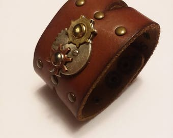 Leather Cuff Bracelet, Steampunk