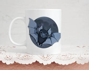 Bat Lover Mug Gift  Bat And Moon  Coffee  Tea 11 Ounce Mug Perfect Present For Vampire Bat Animal Lover Goth  Valentine's Day Gift
