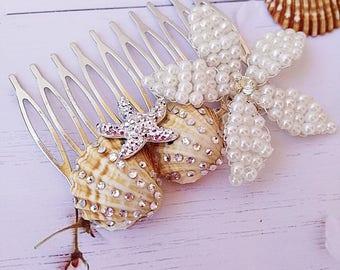 Beach wedding hair comb, starfish hair comb, beach wedding hair, pearl hair comb, beach hair accessory, beach bridal comb, shell hair comb