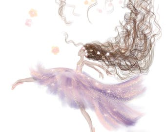 Ballerina Leaping in air, pink, purple, Instant Download, wallet, digital download, acrylic painting, art, dance, dancer, brunette, floral