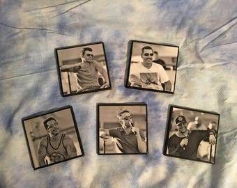 New Kids on the Block black and white decorative 4x4 photo tile coasters .