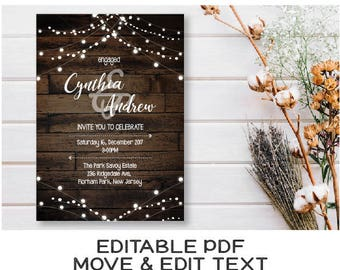 Rustic engagement invitation Dark wood engaged invitation printable Engagement announcement invitation template Country wedding - DIGITAL
