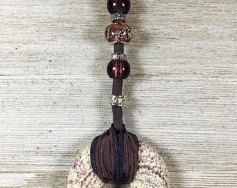 Eggplant silk ribbon necklace, Silk Ribbon, Lava donut pendant, adjustable length