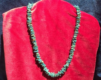 Real turquoise nugget beaded necklace