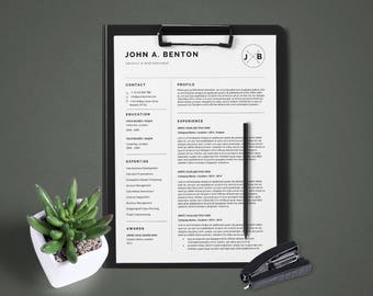 Creative Resume Template 1,2 & 3 page / CV Template + Cover Letter / Instant Download for MS Word