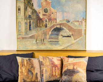 "Small part of Venice painting, set 3 cushions with colorful printed details of paint, Bright color, 16"" / 40 - Limited Edition of 100"