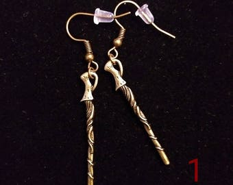 Bronze Magic Wand Earrings