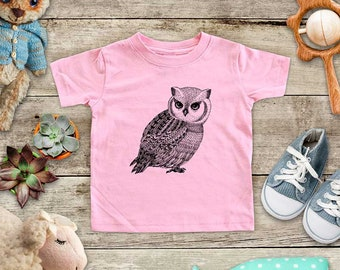 Owl Bird cute graphic Zoo animal wild kingdom Shirt - Baby bodysuit Toddler youth Shirt cute birthday baby shower gift