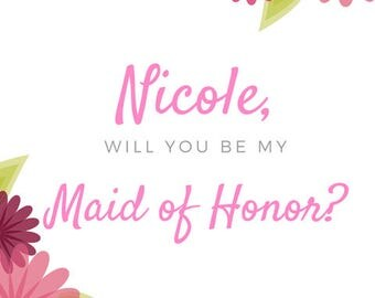 Bachelorette/Bridal Party/Weddings - Floral Bridal Party Card
