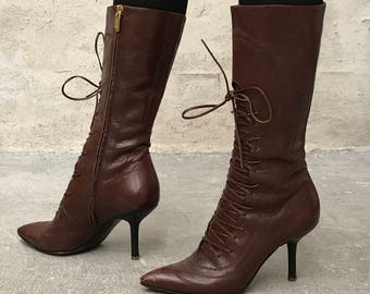 Sergio Rossi - Cramel brown leather lace boots