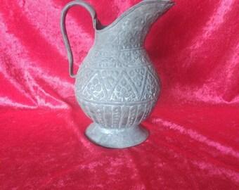 Vintage Original Antique Ottoman Style Copper Pitcher With Flower Design #113