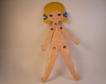 Skinny Jinny, Flat Doll, Durham Industries, No. 1500, Blond with pigtails, vintage