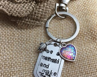 MERMAID Keychain, Be a Mermaid Make Waves, Beach Mermaid Keyring, Beach Bag Charm, Purse Charm, Mermaid Zipper Pull, Turle Beach Keychain