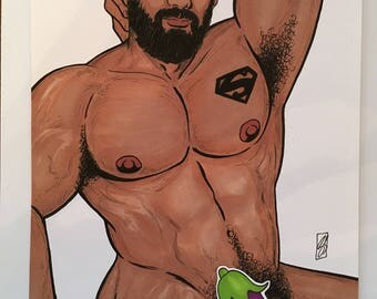 GAY SUPER DADDY Bear Art Male Nude Bearded Hot Muscle Illustration Full Nude Original Drawing - Pen, Ink & Markers