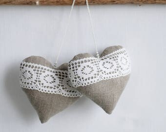 Grey Linen heart, hanging decor, burlap wedding decor, fabric tree ornaments, stuffed fabric heart, heart with laces, anniversary