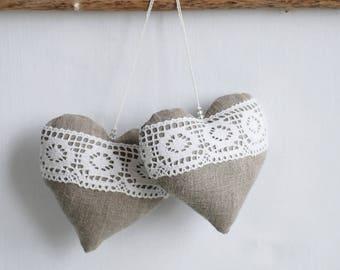 Grey Linen heart, hanging decor, burlap wedding decor, fabric Christmas tree ornaments, stuffed fabric heart, heart with laces, anniversary