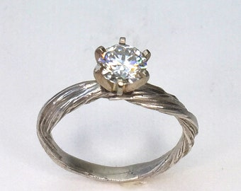 Moissanite Engagement Ring, Solitaire, Sterling Silver, Alternative engagement, nature ring, organic ring,  promise ring,orokoro