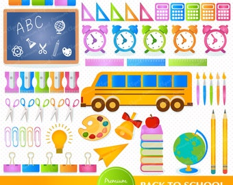 Back to school clipart, school clipart, bus clipart, pencil clipart, clipart images, commercial use - CA169