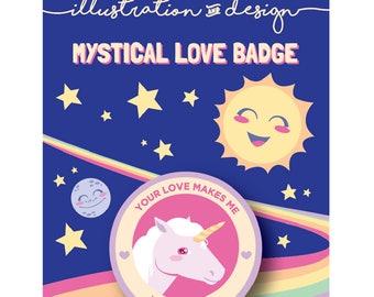 """1.5"""" Love Unicorn Button"""