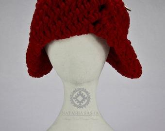 Fancy hat Cloche hat Red hat Winter hat Wool hat Fashion accessories Vintage hat Exclusive design Hand knit hat Art hat Women hat
