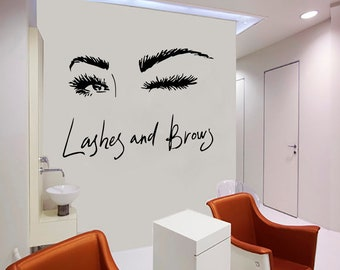 Wall Decal Window Sticker Beauty Salon Woman Face Eyelashes Lashes Eyebrows Brows t52