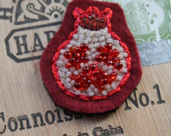 Hand Embroidered Pomegranate Patch Brooch (Sample)