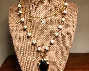 Black Onyx Arrowhead Necklace