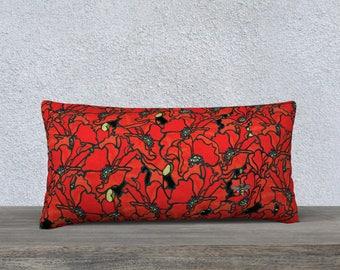"Pillow Case - Poppies 24"" x 12"""
