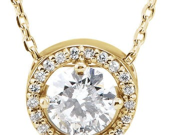 Diamond Accented Halo-Style Necklace