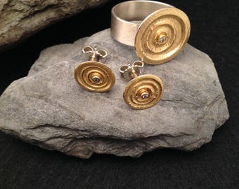 Ring silver 925 with gold 900 and earrings ring 18 mm