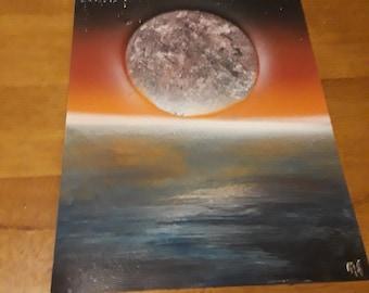 moon rising during sunset