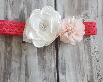 Baby, girl flower headbands, hot pink headband,Easter flower headband