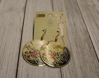 Vintage Floral-Print Earrings (Gold)