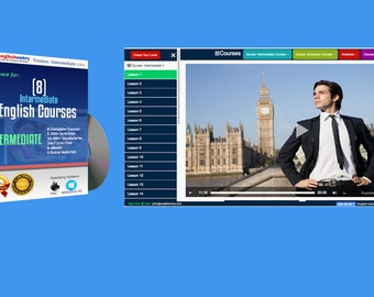 English language Learning Software: 8 English Intermediate Courses + 8 English learning eBooks. How To Speak English Fluently  for PC x86.