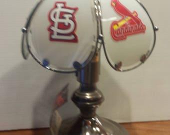 St.Louis Cardinals 3 way lamp, Cardinals table/desk lamp, Man's desk accent sports lamp, Baseball lamp, Cardinals light