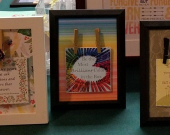 Inspiration Cards with Clothespin Frame - Interchangeable inspiration Cards, Motivation, Positive Self
