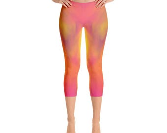 Women's  Color Capri-Leggings,Beautiful Pattern leggings, full printed, Printful, USA,Made for you, Modern,Trendy Design store,