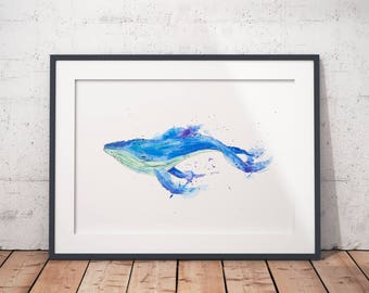 Whale watercolor art print / Blue / Wall Art /
